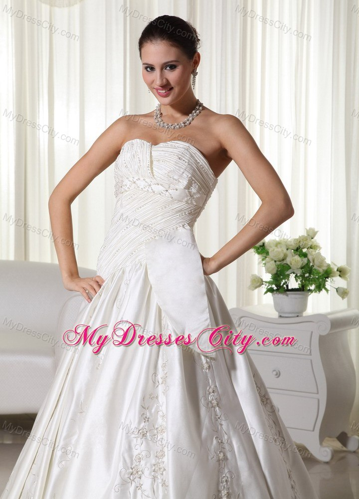 Pretty ruched embroidery beaded chapel train church for Dresses for church wedding