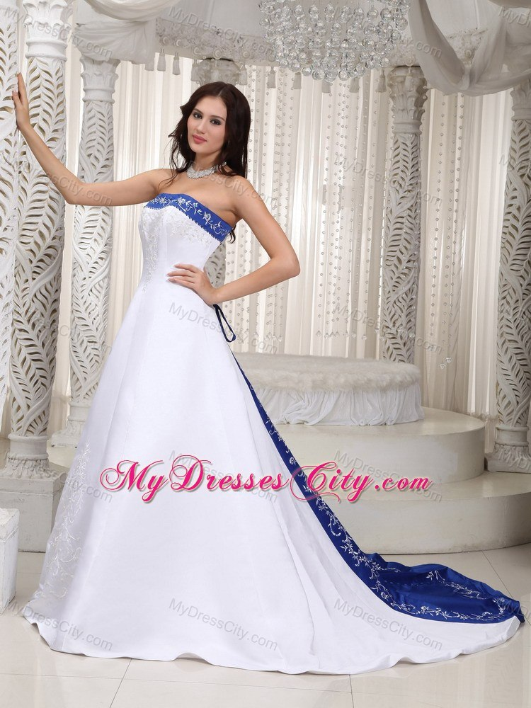 A Line Wedding Dresses With Bluewedding Dressesdressesss