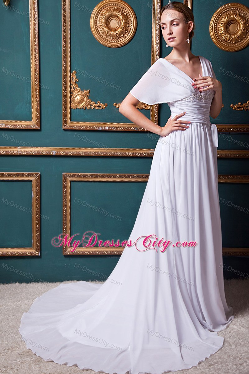 Cap Appliques Sleeves for Maternity Wedding Dress with Court Train