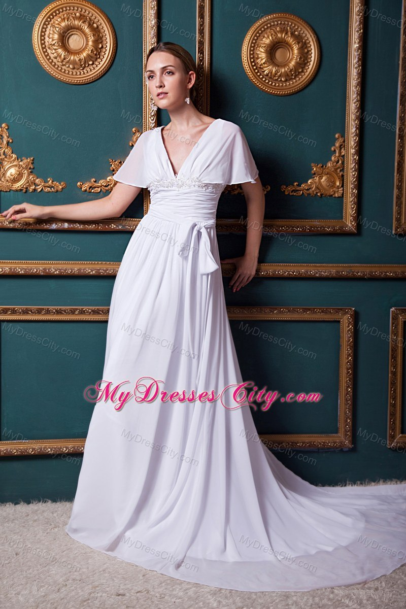 Cap appliques sleeves for maternity wedding dress with court train sash cap appliques sleeves for maternity wedding dress with court train ombrellifo Gallery