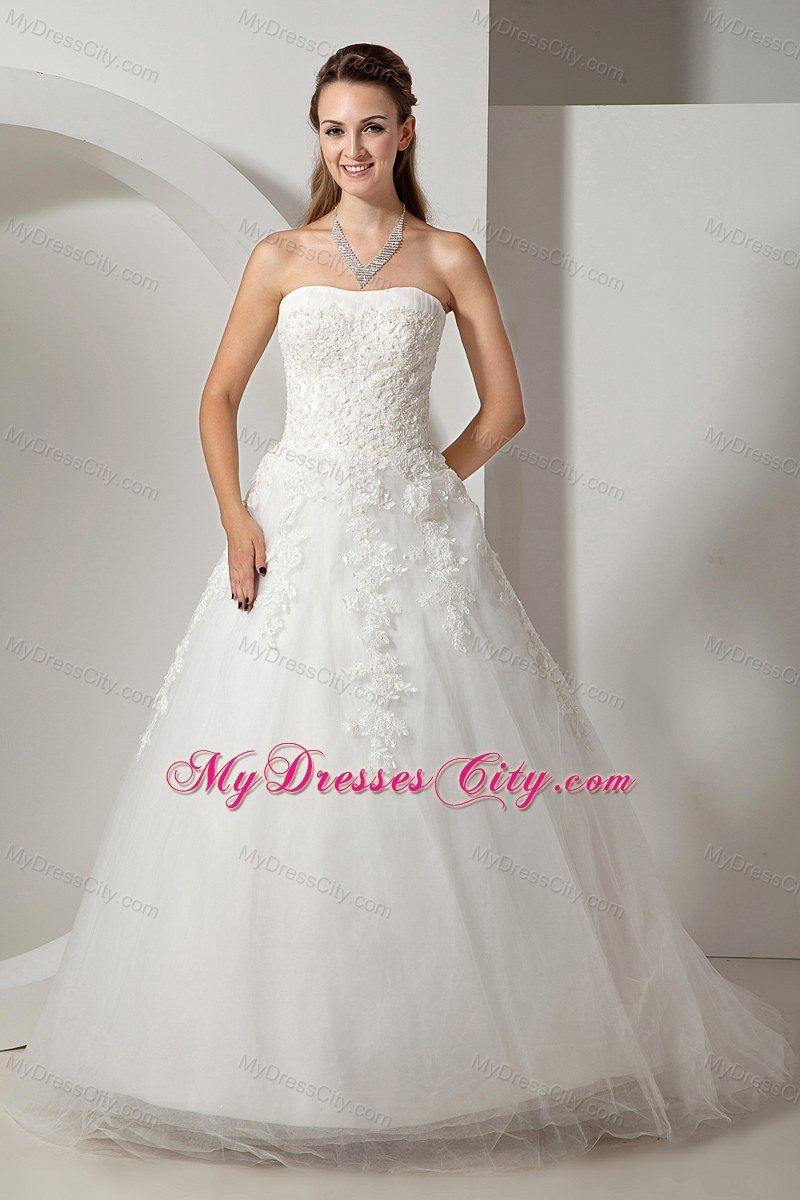 Modest strapless court train wedding dress with tulle lace for Petite wedding dresses online