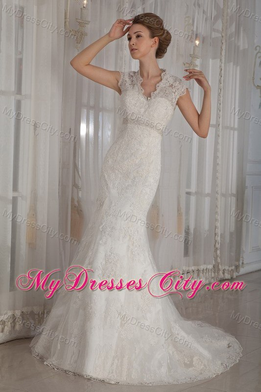 Bridal Gowns Elegant : Elegant mermaid v neck lace wedding dress for outdoor