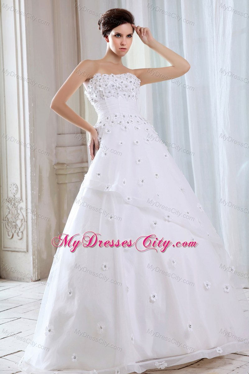 A line strapless long wedding gowns with appliques for for Cheap strapless wedding dresses