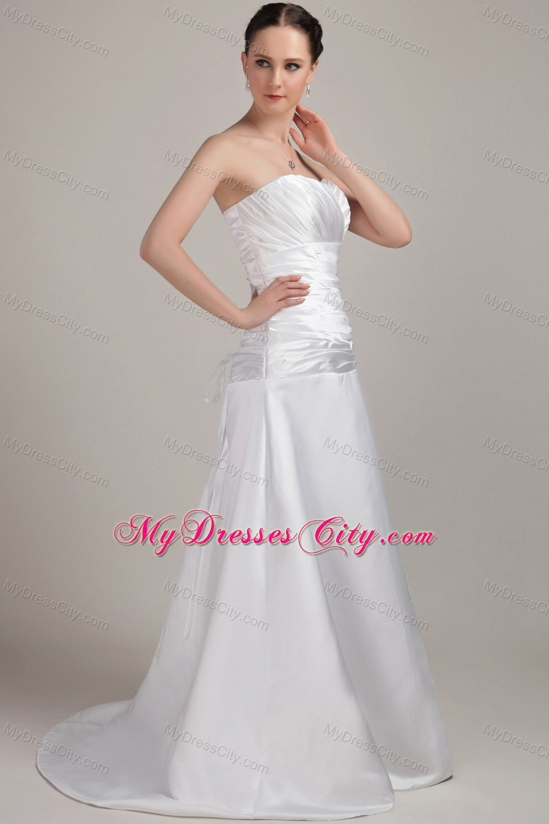Romantic ruches sweetheart wedding dress for church for Dresses for church wedding