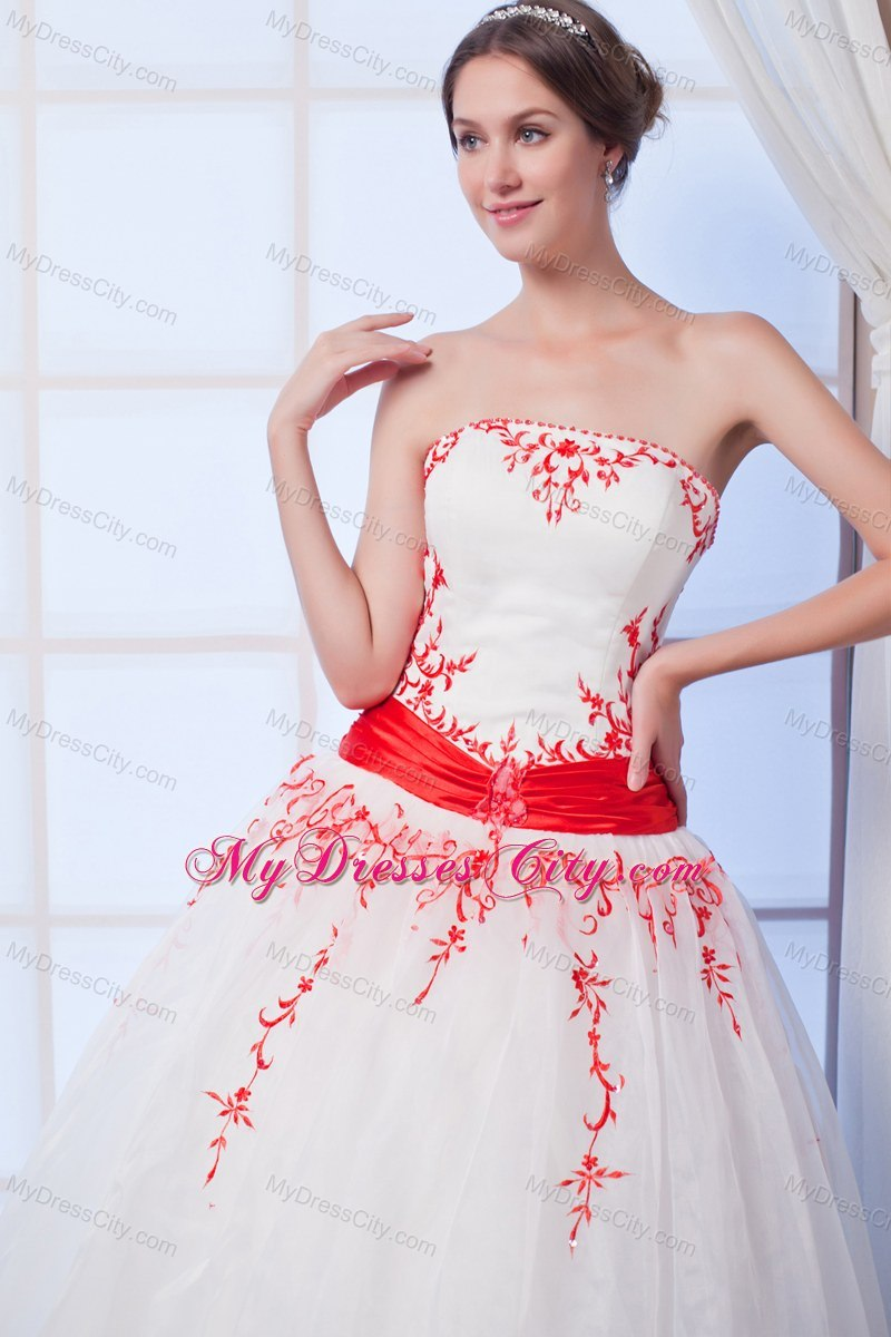 New Arrival Ball Gown Organza Red Appliques Wedding Gowns ...