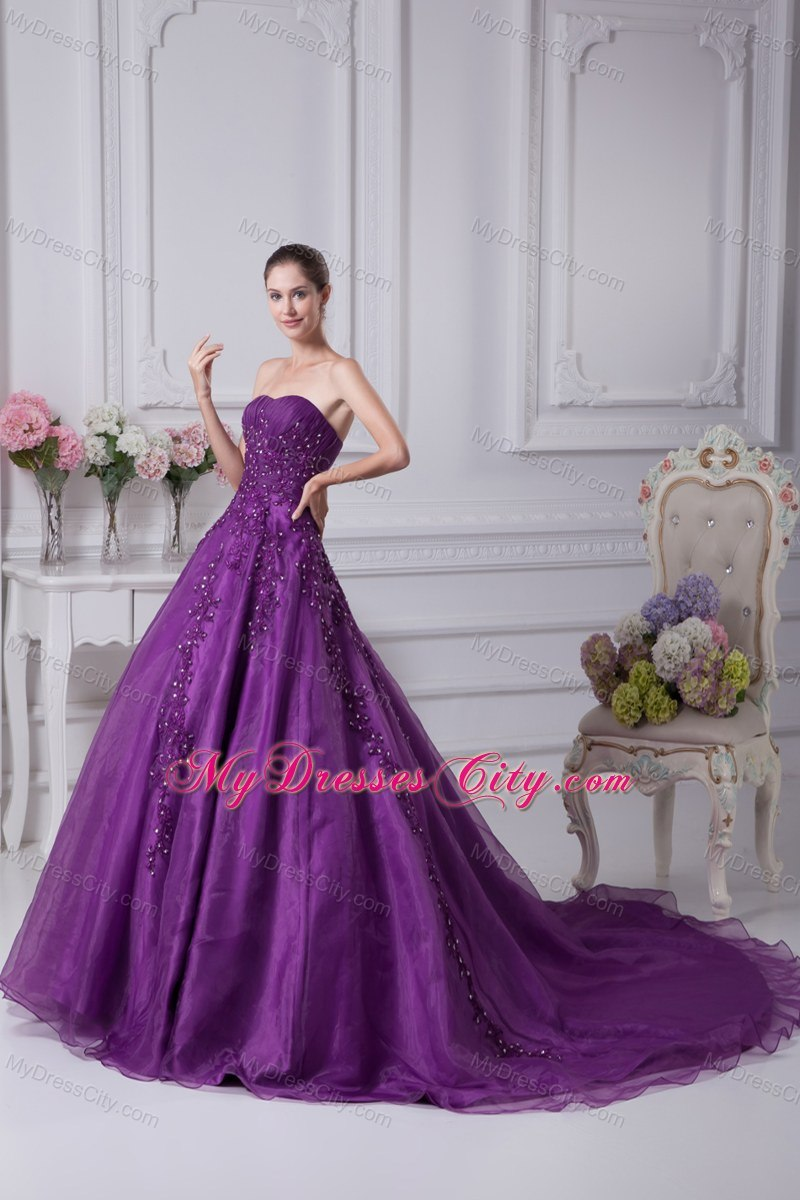 Eggplant purple appliques sweetheart wedding dress in 2013 for Wedding dresses with purple trim