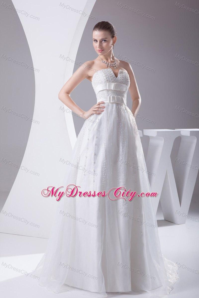 beading and belt column strapless wedding dress for cheap