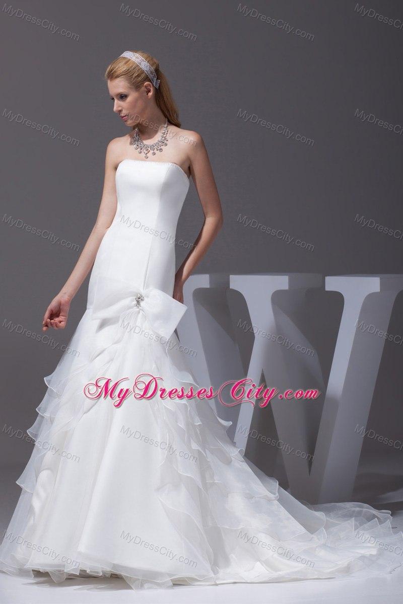 Mermaid bow court train wedding dress for church wedding for Dresses for church wedding