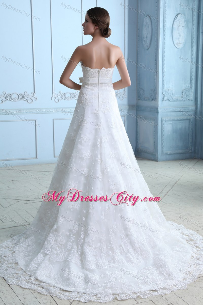 Beautiful Court Train Lace Sash Wedding Dress for Party ...