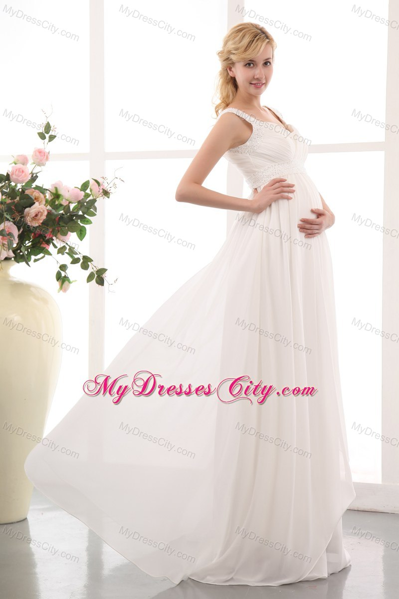 Straps maternity bridal dresses with floor length chiffon beading beautiful straps maternity bridal dresses with floor length chiffon beading ombrellifo Image collections