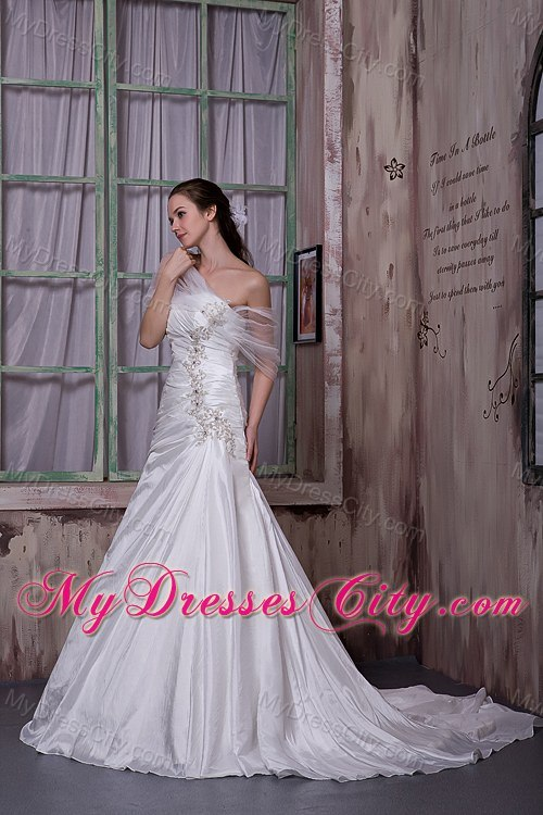 A-line Asymmetrical Court Train Wedding Gown with Appliques