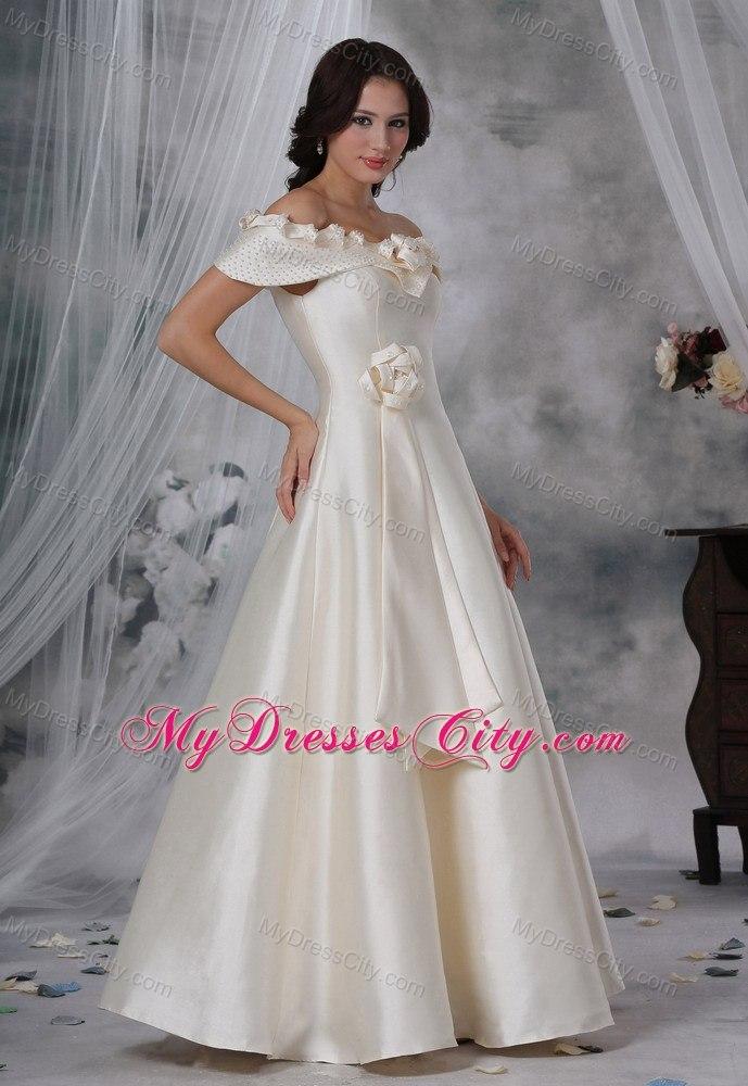 Beaded off the shoulder hand made flower a line wedding for Hand beaded wedding dresses