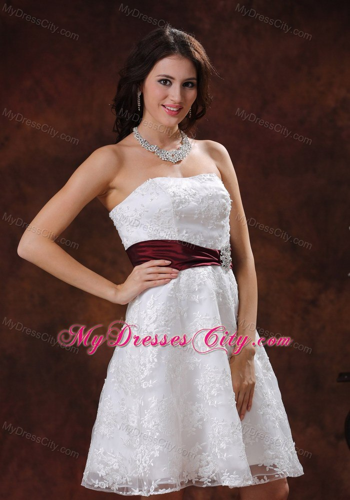 Elegant Lace Over Shirt Short Bridal Dress With Wine Red