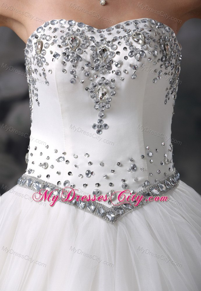 Beaded Bodice Floor Length Ball Gown Lace Up Wedding Dress