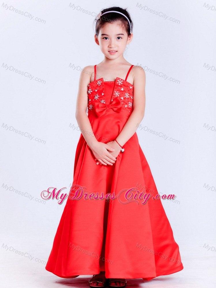 Taffeta Red A Line Straps Ankle Length Beaded Flower Girl