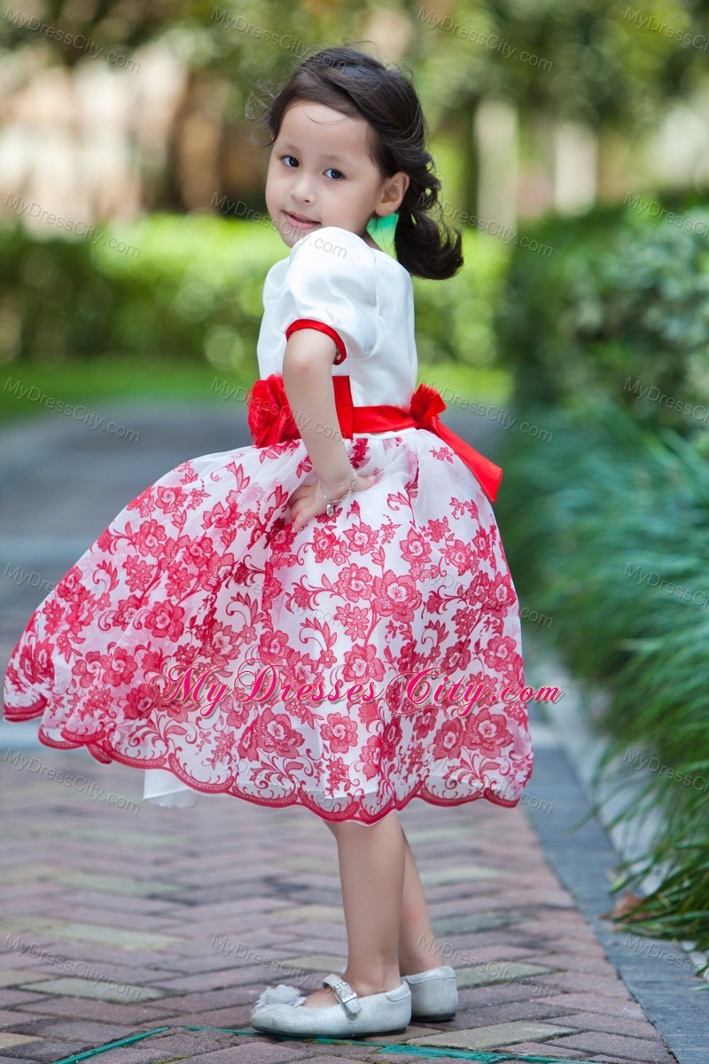 Printed White Scoop Short Floral Flower Girl Dress With Red Sash