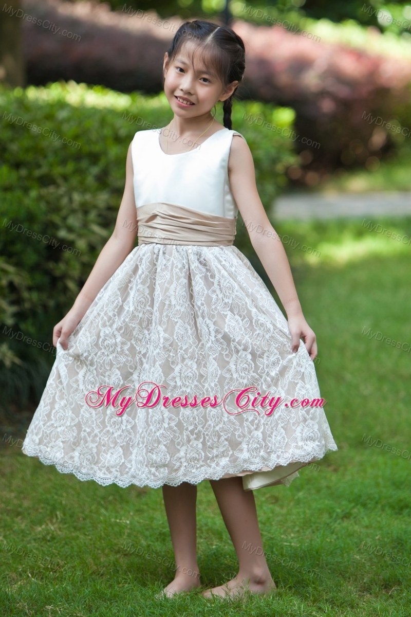 White and champagne scoop lace flower girl dress with back bow white and champagne scoop lace flower girl dress with back bow izmirmasajfo Images