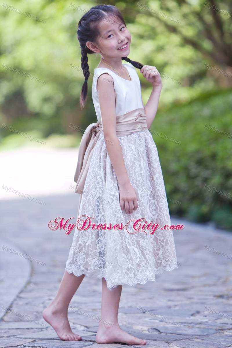 2bc4f97f7 White and Champagne Scoop Lace Flower Girl Dress with Back Bow ...