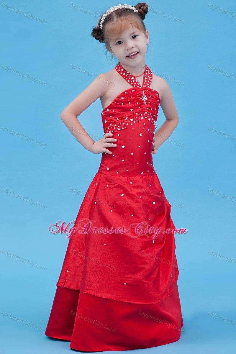 Halter Top Red Taffeta Beading Flower Girl Dress in A-line Style ...
