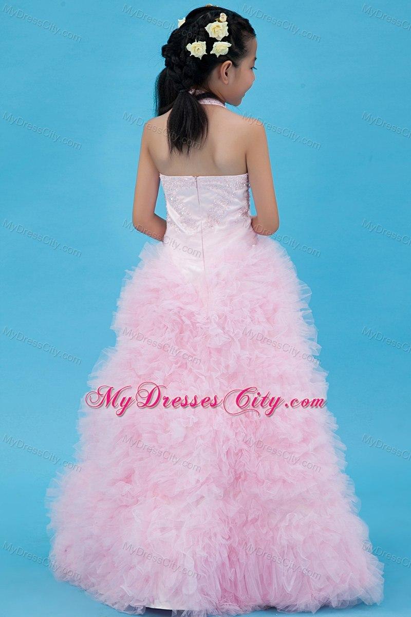 Tulle Baby Pink Beaded Flower Girl Dress with Halter Ruffles ...