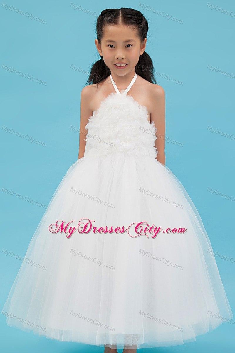Halter Tulle White A-line Short Appliques Flower Girl Dress ...