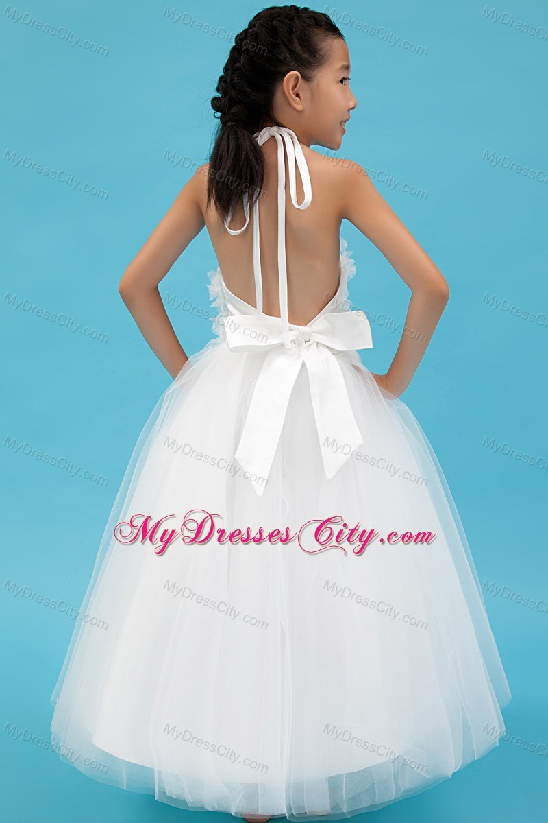 Halter Tulle White A-line Short Appliques Flower Girl Dress ...