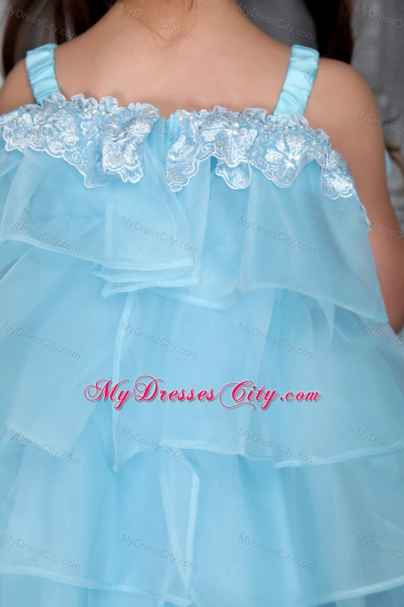 Auqa A-line Organza Straps Knee-length Beaded Girls Party Dress ...