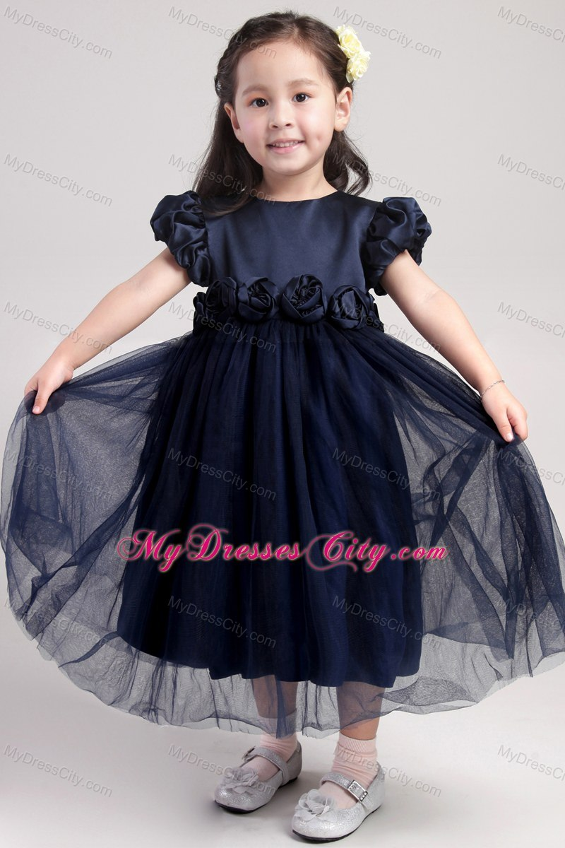 Tea length scoop navy blue hand made flower flower girl dress ombrellifo Image collections
