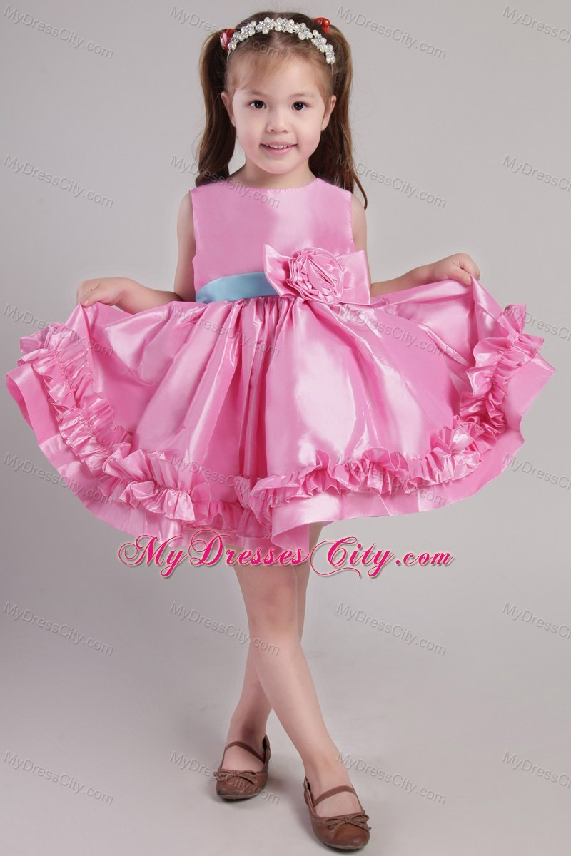 Knee Length Rose Pink Scoop Taffeta Belt Little Girl Dress