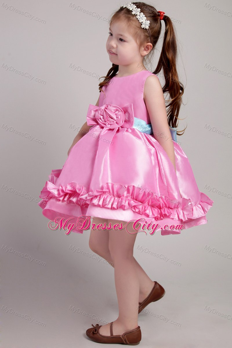 Knee-length Rose Pink Scoop Taffeta Belt Little Girl Dress - MyDressCity.com