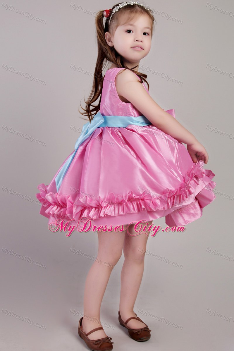 Knee-length Rose Pink Scoop Taffeta Belt Little Girl Dress ...