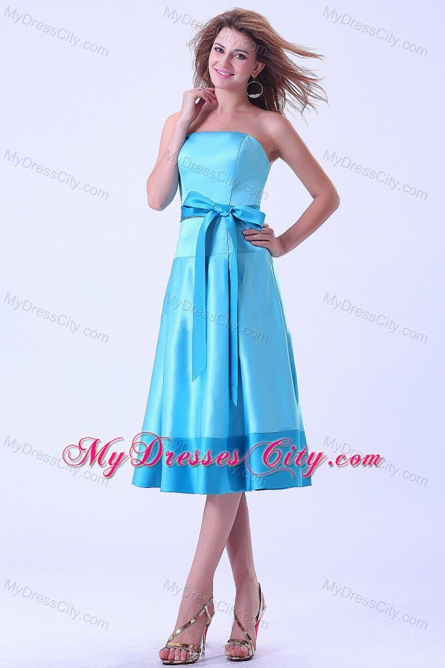 Aqua Blue Tea-length Junior Bridesmaid Dress With Bowknot ...