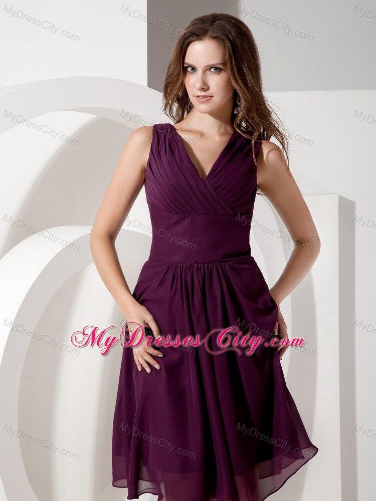 Knee Length Purple Bridesmaid Dresses