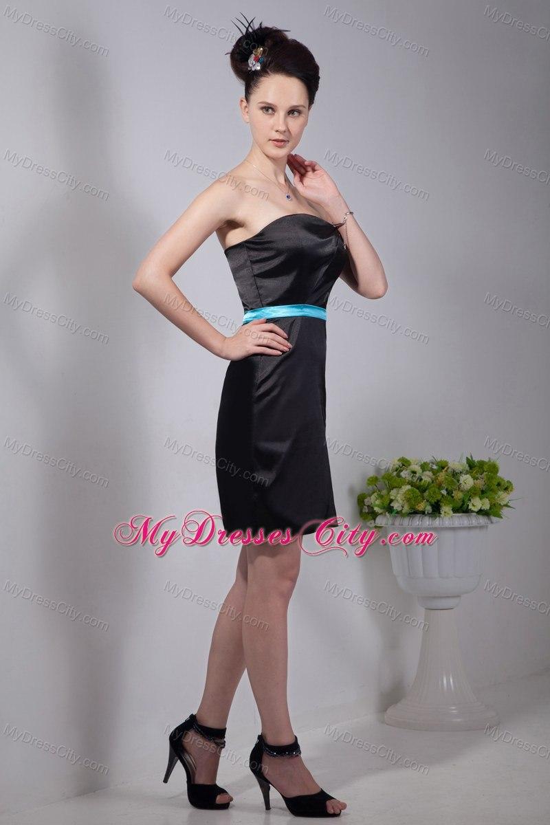 Length black column strapless with blue sash bridesmaid dress mini length black column strapless with blue sash bridesmaid dress ombrellifo Gallery