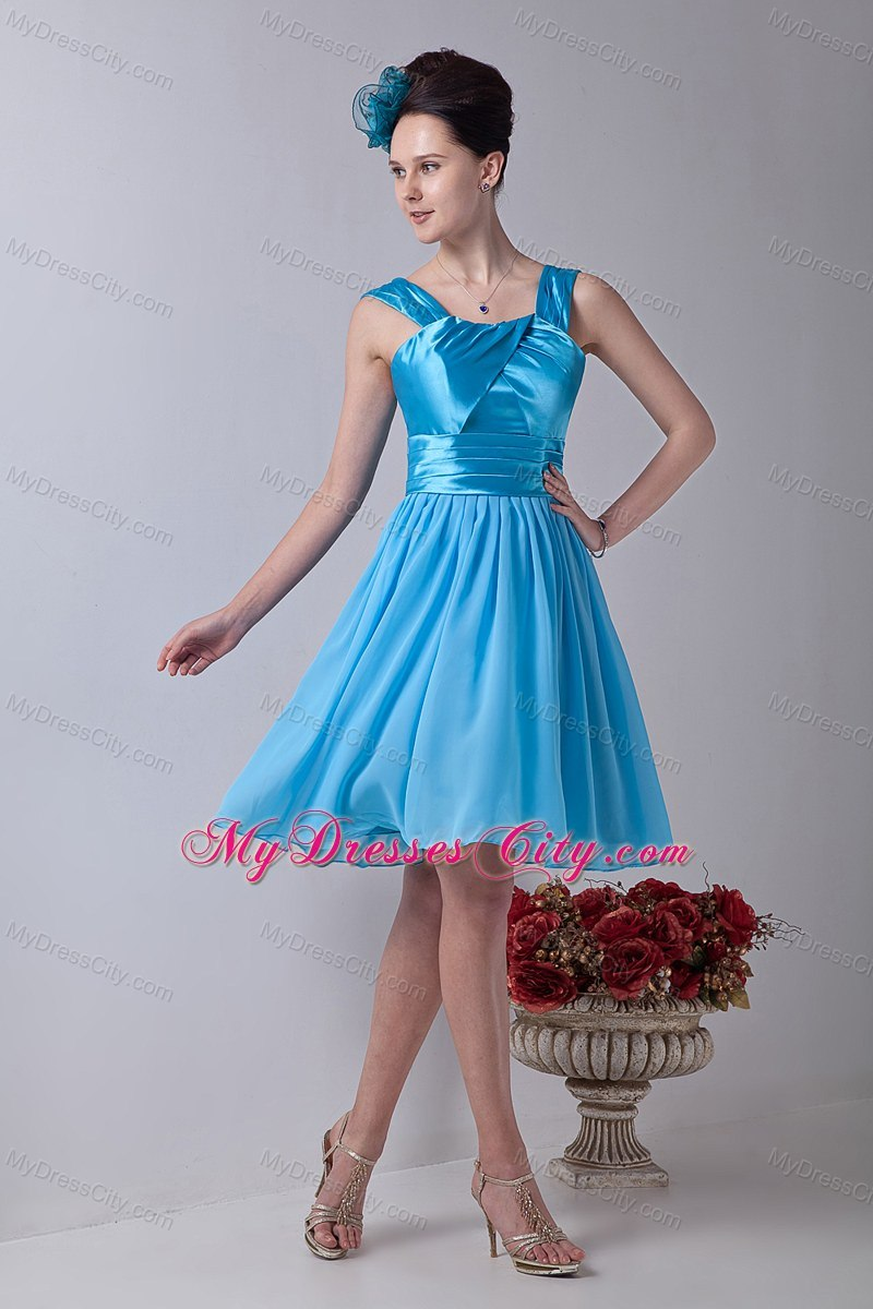 Aqua Blue Knee-length Dress for Junior Bridesmaid with Straps ...