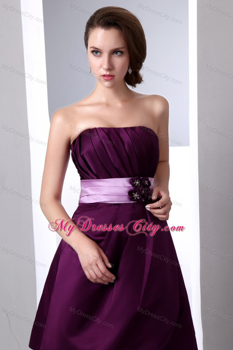 Purple Mini-length Junior Bridesmaid Dress with Hand Made Flower