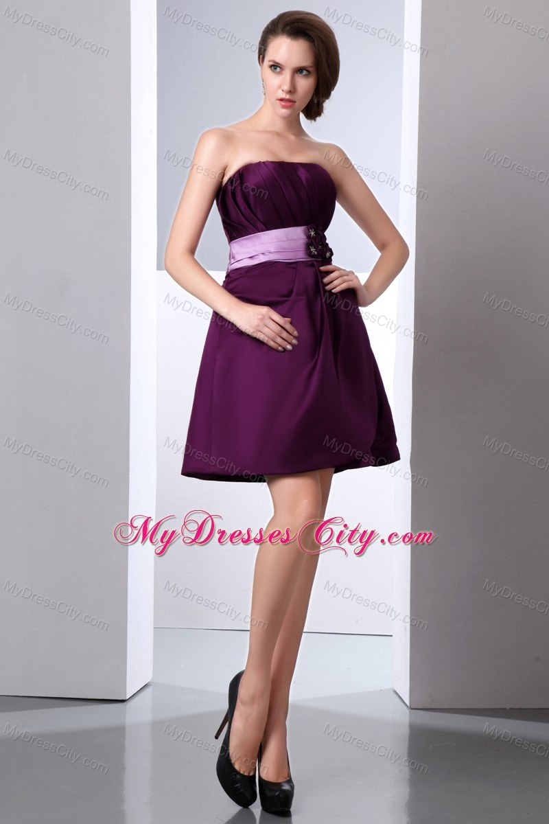 Purple Mini-length Junior Bridesmaid Dress with Hand Made Flower