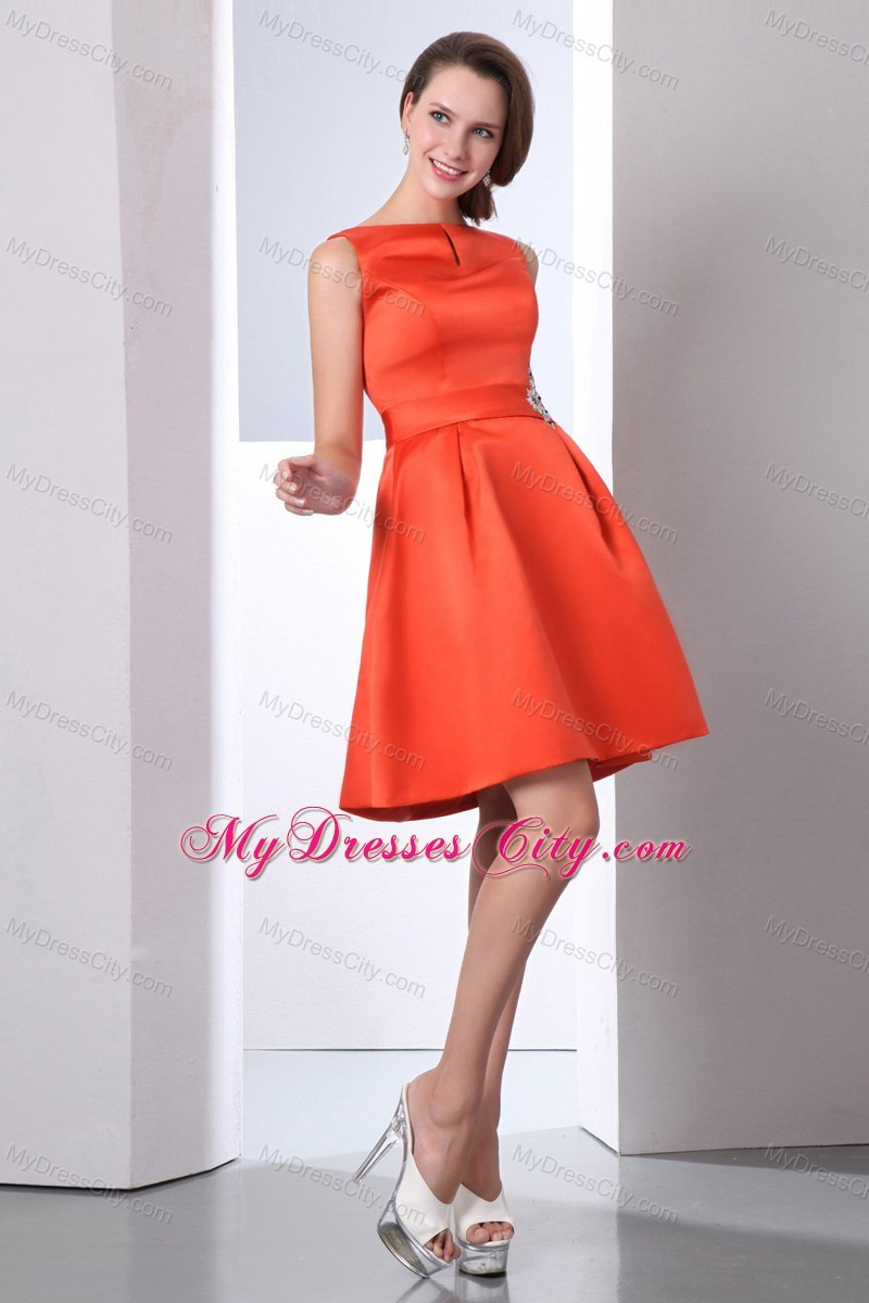 Orange red bateau beaded junior bridesmaid dress mini length orange red bateau beaded junior bridesmaid dress mini length ombrellifo Images