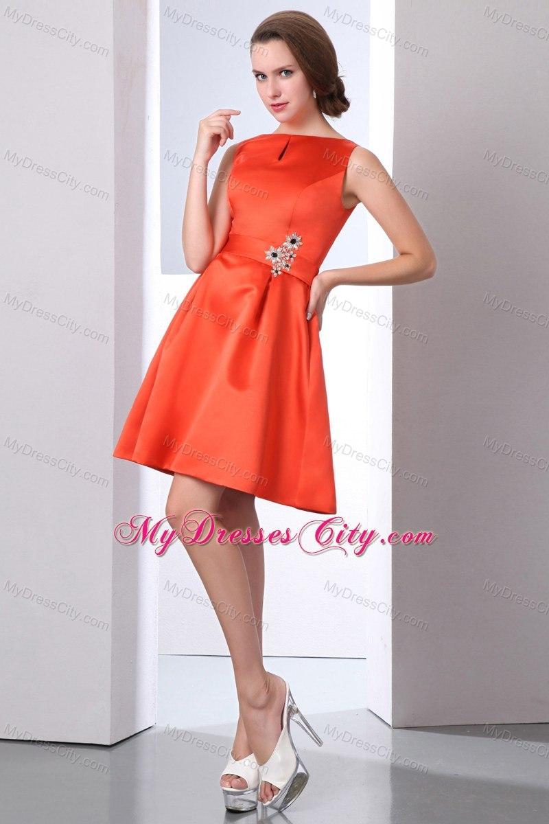 Orange red bateau beaded junior bridesmaid dress mini length orange red bateau beaded junior bridesmaid dress mini length ombrellifo Image collections