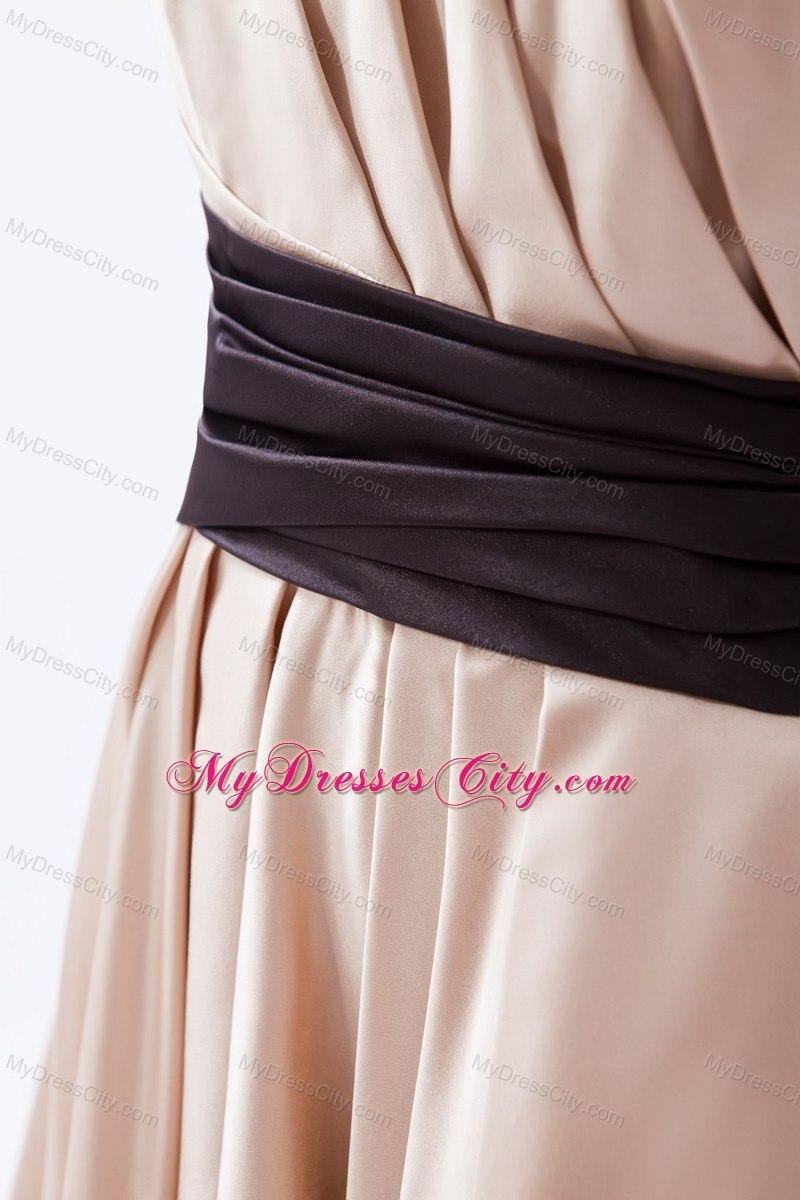One Shoulder Ruching Tea Length Bridesmaid Dresses With Black Sash
