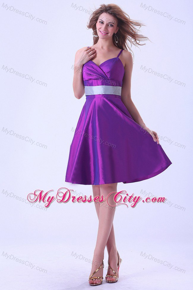 Purple Princess Spaghetti Straps Silver Belt Bridesmaid Dress ...
