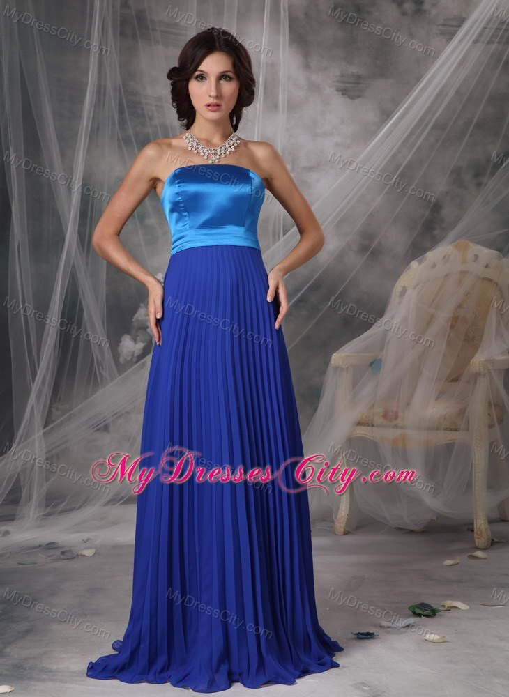 Two-toned Blue Strapless Pleated Chiffon Bridesmaid Dress ...