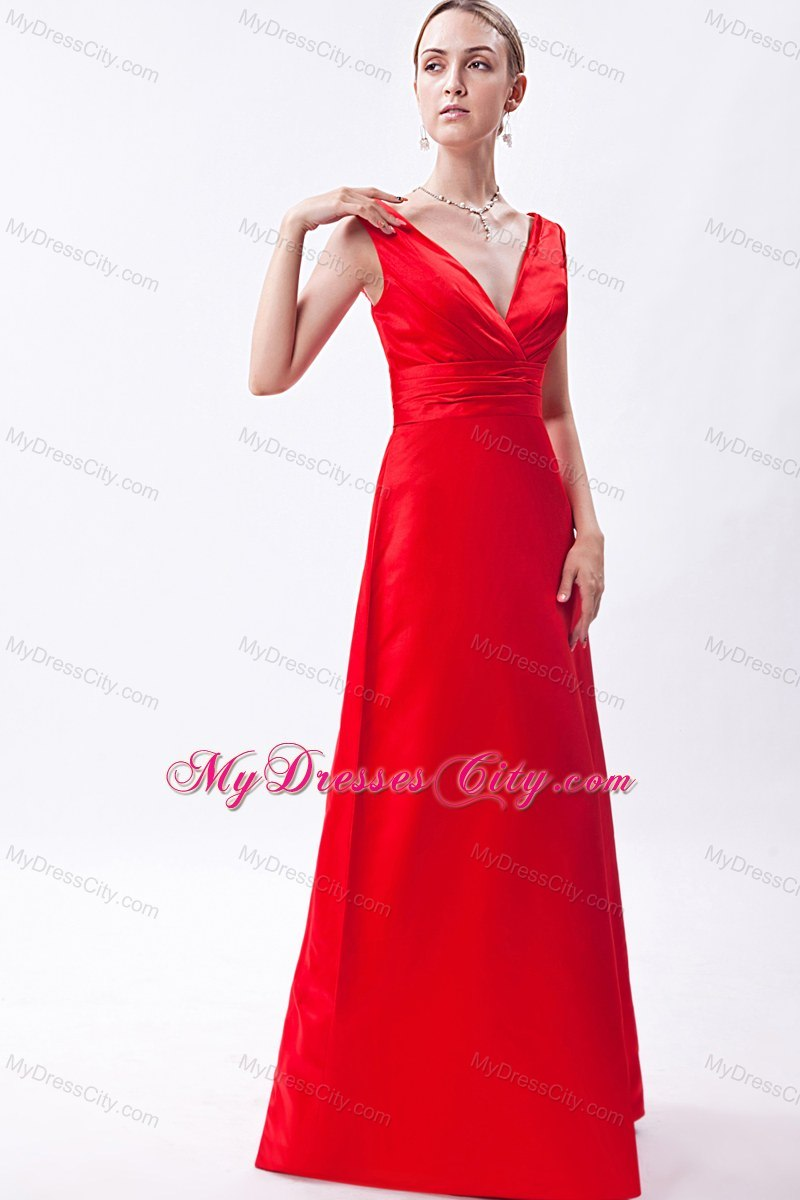 Low cut v neck red floor length sleeveless bridesmaid dress ombrellifo Images