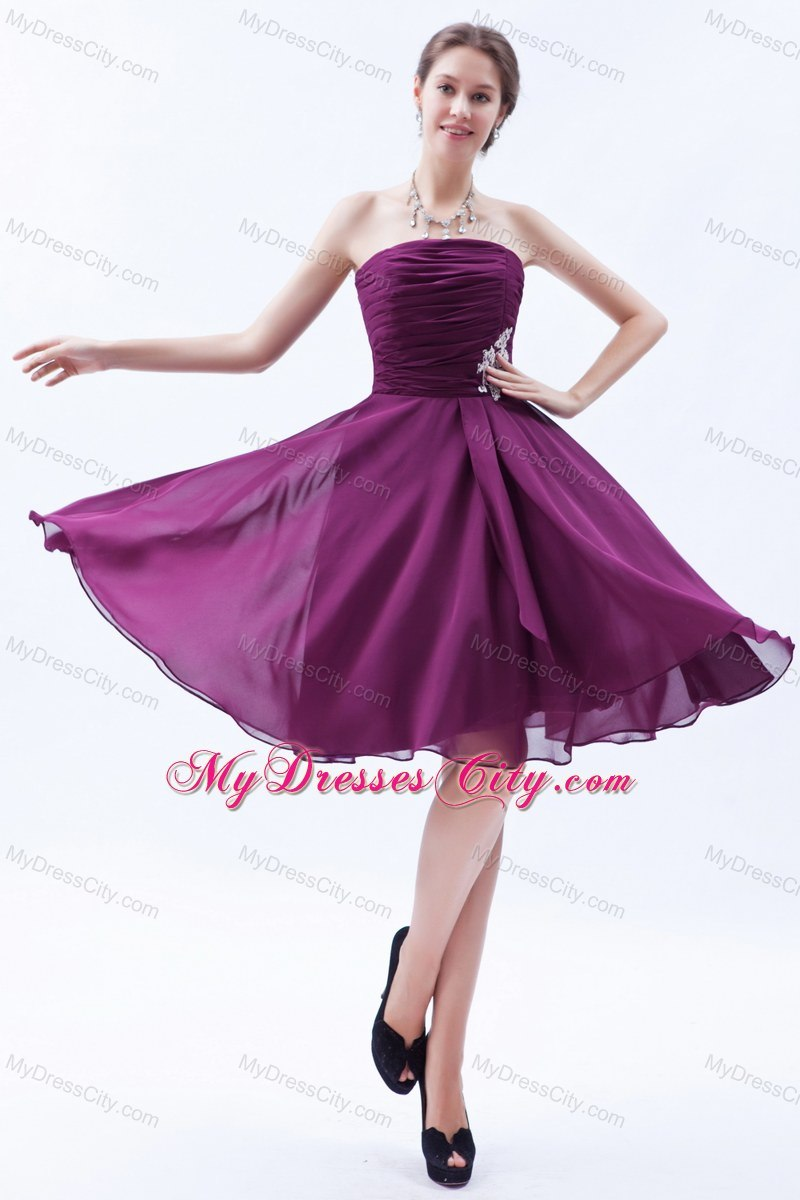 Purple Strapless A-line Chiffon Appliques Bridesmaid Dresses Knee ...