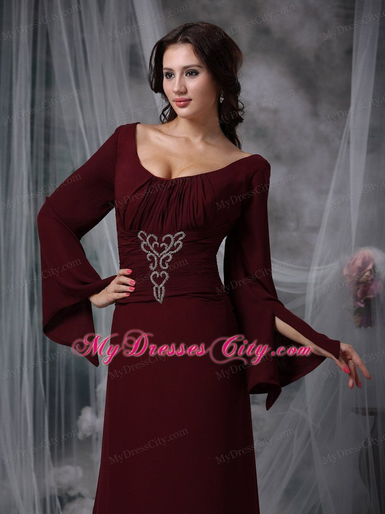 Burgundy Scoop Long Sleeves Beading Mother Of The Bride Dress ...