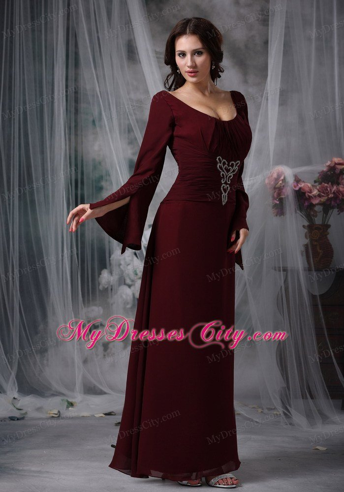 Burgundy scoop long sleeves beading mother of the bride for Mother in law wedding dresses