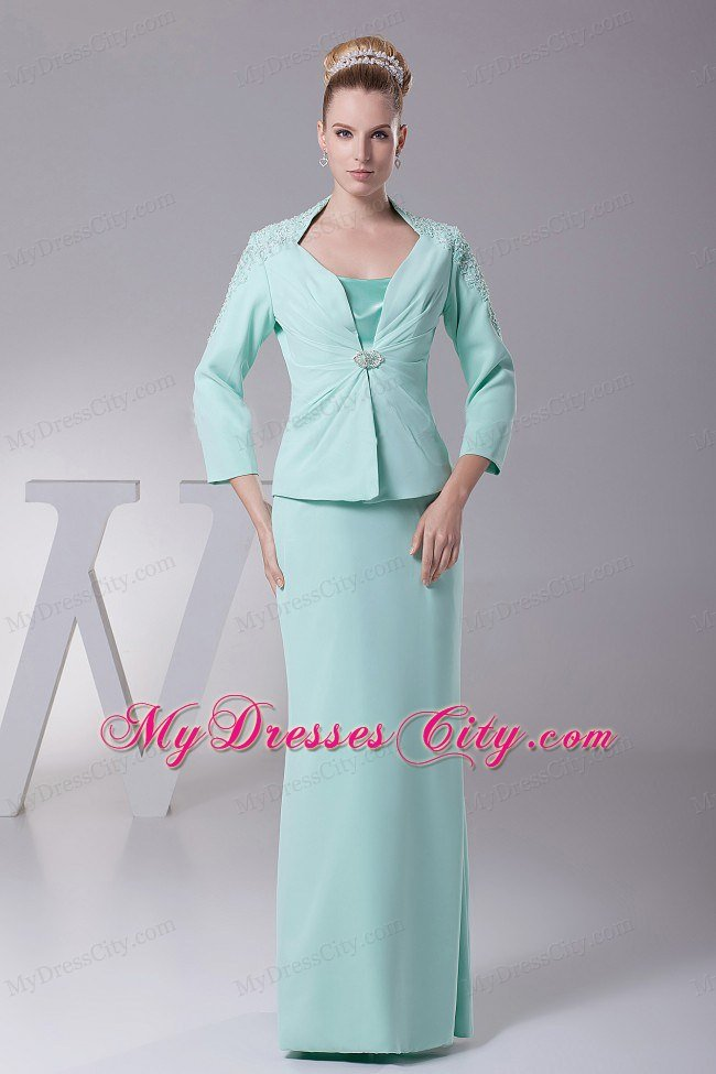 Apple green satin and chiffon mother of the bride dress for Mother in law wedding dresses