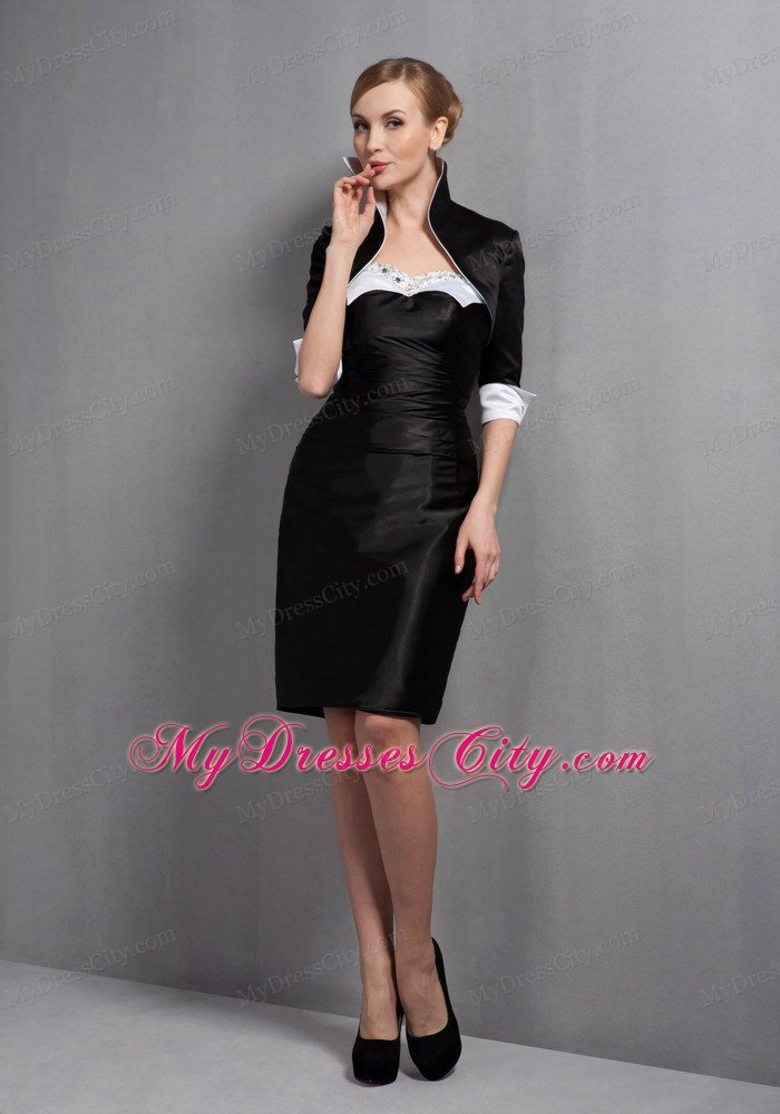 and Black Sweetheart Mini-length Beading Mother Of The Bride Dress