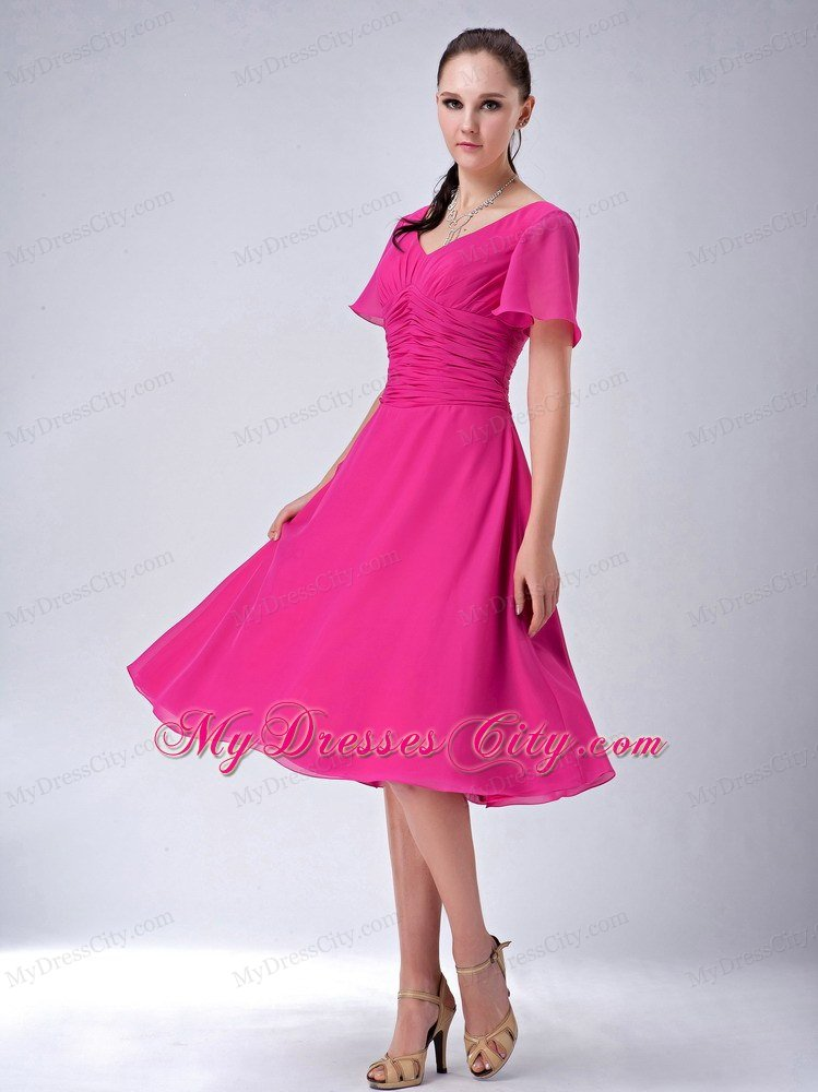 Fuchsia A Line V Neck Tea Length Chiffon Mothers Dresses Mydresscity Com
