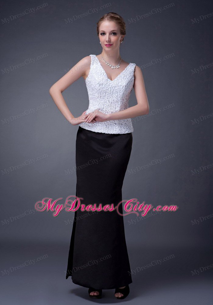 Black And White Column V Neck Ankle Length Mother Of The Bride Dresses